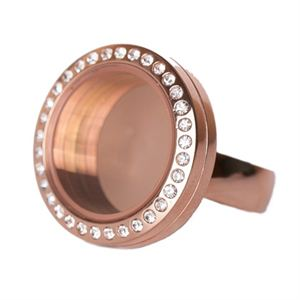 Picture of Rose Gold with Crystals Medium Locket Ring - Size 6